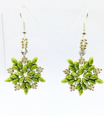 Beadwork SuperDuo Star Earrings - Green and Silver
